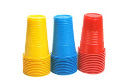 Colorful plastic cups. Royalty Free Stock Photography