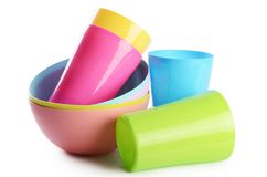 Colorful Plastic Cups And Plates Royalty Free Stock Photo