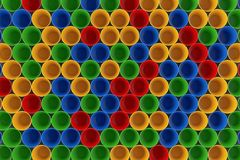 Colorful Plastic Cups Backround. 3d Rendering. Colorful Plastic Cups Backround extreme closeup. 3d Rendering Stock Photography