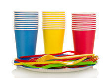 Colorful plastic cups and forks isolated on white Stock Image