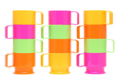 Colorful plastic cups. Isolated on white background Royalty Free Stock Images