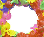Colorful plastic cups for latex balloon on white Stock Photo