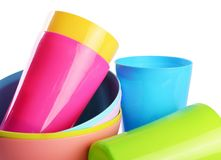 Colorful plastic cups and plates Stock Photo