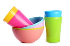 Colorful plastic cups and plates Royalty Free Stock Image