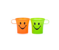 Colorful plastic cups Stock Photos