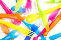 Colorful plastic cutlery Stock Photo