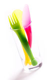 Colorful plastic cutlery Royalty Free Stock Image