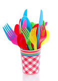 Colorful plastic cutlery Royalty Free Stock Images