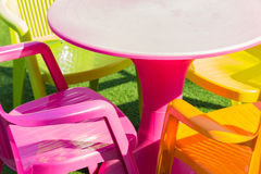 Colorful plastic desk and chair Stock Photography