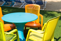 Colorful plastic desk and chair Royalty Free Stock Photography