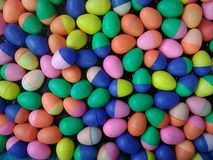 Colorful Plastic Easter Eggs container plastic eggshell. Colorful Plastic Easter Eggs container or plastic eggshell Stock Image