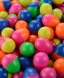 Colorful plastic eggs. Colorful plastic toy eggs isolated royalty free stock images