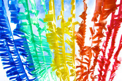 Colorful Plastic Flag by Recycle Concept. Colorful Plastic Flag Sign under the Clear Blue Sky, Creativity From Garbage into the New Thing under the Concept of stock images