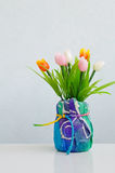 Colorful of Plastic flower in pot, tulip Stock Photography