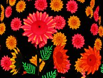 Colorful plastic flowers background. Served as a decoration of a Christmas tree, Bogota, Colombia Stock Image