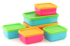 Colorful plastic food storage boxes Stock Photography