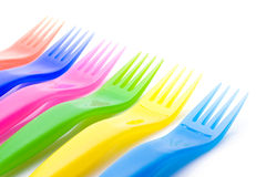 Colorful plastic forks Stock Image