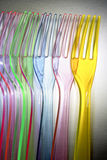 Colorful plastic forks Royalty Free Stock Photos
