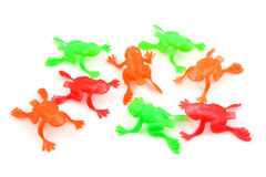 Colorful plastic frog toys Royalty Free Stock Photo