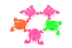 Colorful plastic frog toys Stock Images