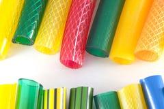 Colorful plastic gardening hoses Stock Photo