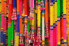 Colorful plastic garlands. Thai style colorful plastic garlands Royalty Free Stock Photo