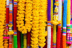 Colorful plastic garlands for worship Stock Photography