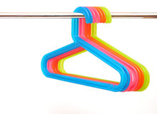Colorful plastic hangers Stock Photos