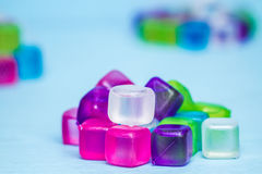 Colorful Plastic Ice Cubes Royalty Free Stock Photography
