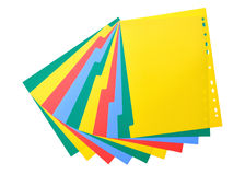 Colorful plastic index sheet Stock Images