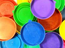 Colorful plastic jar caps Royalty Free Stock Photo