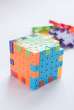 Colorful plastic jigsaw puzzle game Royalty Free Stock Photo