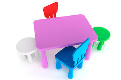 Colorful plastic kid chairs and table Royalty Free Stock Photography
