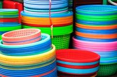 Colorful plastic kitchenware background Royalty Free Stock Photo