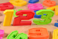 Colorful plastic numbers 123 Royalty Free Stock Photography