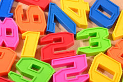 Colorful plastic numbers 123 Stock Images