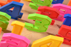 Colorful plastic numbers Royalty Free Stock Photography