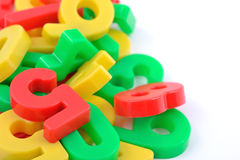 Colorful plastic numbers on white Stock Photo