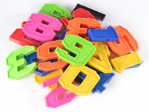 Colorful plastic numbers on a white Royalty Free Stock Photography