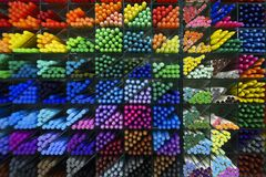 Colorful plastic pens Royalty Free Stock Photos