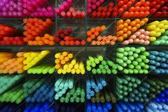 Colorful plastic pens Royalty Free Stock Images