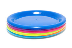 Colorful plastic plates Stock Images