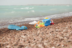 kids toys on sand beach Royalty Free Stock Image