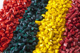 Colorful plastic polymer granules Royalty Free Stock Photos