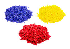 Colorful plastic polymer granules Stock Photos