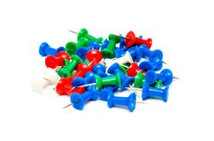 Colorful plastic push pins Stock Image
