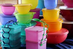 Colorful Plastic Rubber Bowls Kitchen. Food container storage accessories cooking baking stock photos