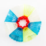 Colorful of plastic shuttlecocks toy. Royalty Free Stock Images