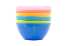 Colorful plastic snack bowls Stock Photos