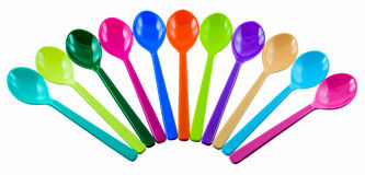 Colorful plastic spoons Royalty Free Stock Photo